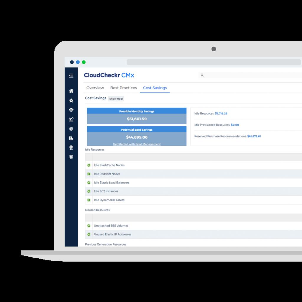 laptop with CloudCheckr CMx cloud cost management software