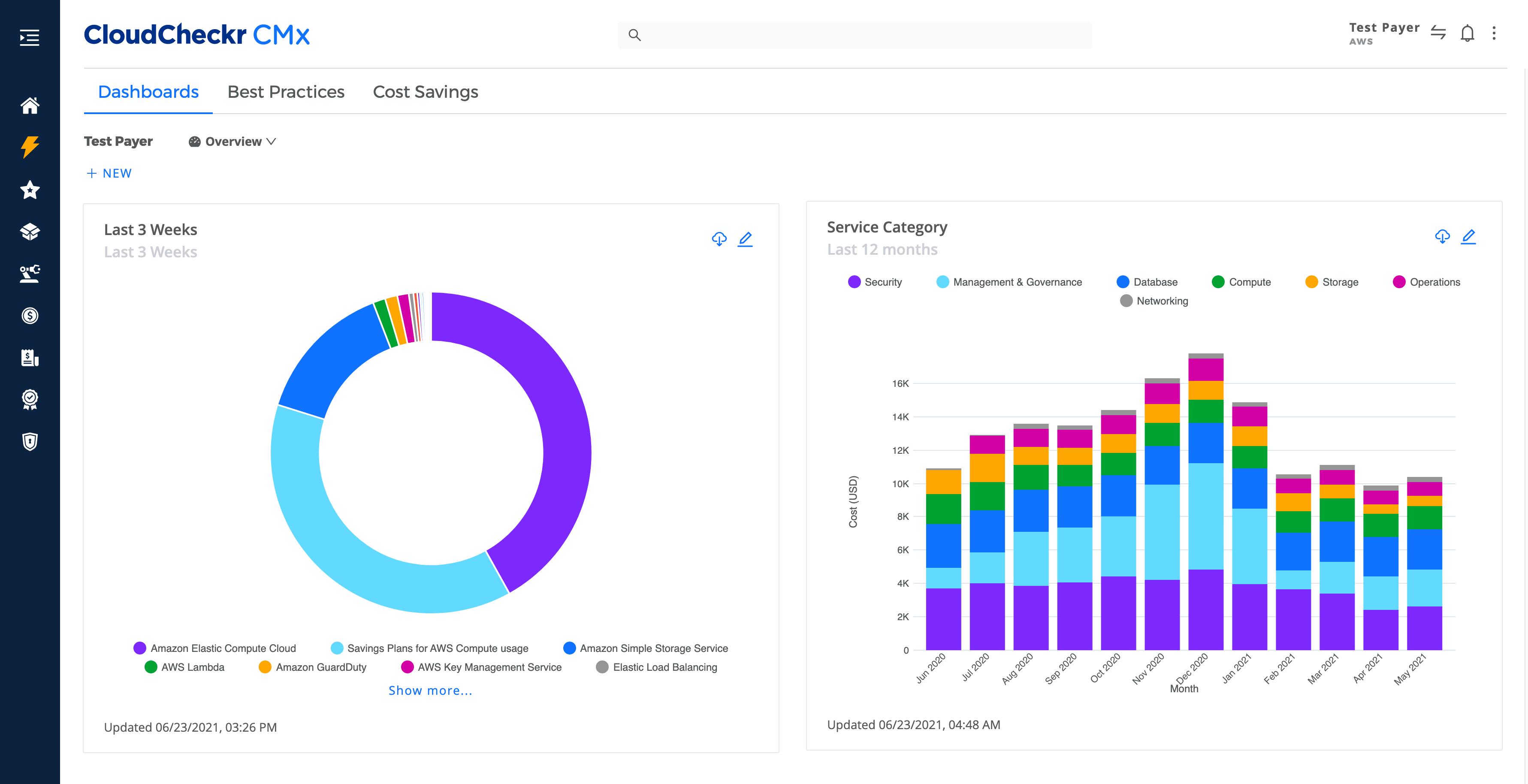 screenshot of the cloudcheckr cmx dashboard homepage